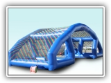Water Wars - Take sides and try not to get wet in this fun water game. Each side launches water bombs at the opposing team.The projectiles burst in the netting, raining down water on the people underneath. Length: 45 FT Width: 13 FT Height: 15 FT